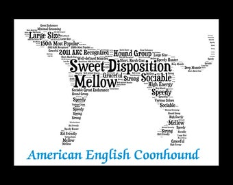 American English Coonhound,American Coonhound,Custom, Personalize, Pet Gift, Print, Dog Art, Pet Art, Pet Memorial, Custom Dog