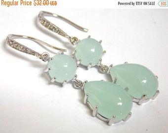 SALE Mint Earrings, Glass Earrings, Aqua Earrings, Light Green Earrings, Silver, Bridesmaid Earrings, Bridal Earrings, Bridesmaid Gift
