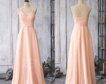 Bridesmaid Dress Peach Chiffon Wedding Dress,Criss Cross Spaghetti Strap Maxi Dress,A Line Long Prom Dress Full Length (F089)-Renzrags