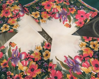 4 Shabby chic  multi colored green flowered cottage, shabby dining room table napkins