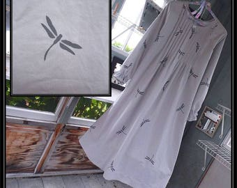 FREE Shipping in US-S-XXL-Mist-Pewter Dragonfly,Long Sleeve Cotton Nightgown, Handmade ,  Vintage Fabric, PinTucked, Waltz Length