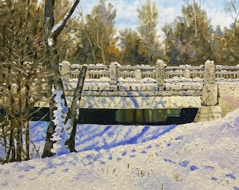 "Original Impressionist landscape oil painting ""Winter Bridge"" 16x20"