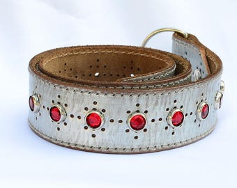 """Silver Leather Martingale Dog Collar, Red Leather Martingale Collar,  Made to order - Sizes 14-22"""" inches"""