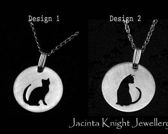Sterling silver cat pendant - 14mm, 16mm, 19mm or 22mm