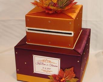 Fall/Autumn theme card box- Burgundy and Burnt Orange-Gold Rhinestones-Fall leaves