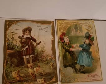 2 Victorian cards with children  coffee ad antique advertising ephemera old scrap paper art supplies vintage Q9