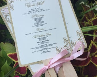 Wedding Fan Programs - Glitter Wedding Fan Programs - Gold Wedding Programs - Glitter Weddings