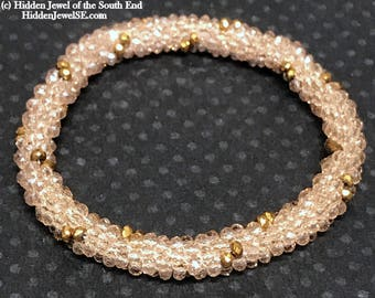 Gold dotted Crystal crocheted Bangle, Bead Crochet bangles, Bead Weaving Beaded Bangle, crystal bangle, size 6.5, stack-able bangles, (CR5)