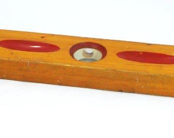 "Vintage Stanley J47 18"" Wood Level, Original Paint - Free Shipping"