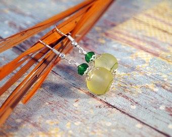 Yellow Glass Drop Earrings  Yellow Dangle Earrings Summer Earrings Yellow and Green Earrings Dangle Pierced or Clip-on Earrings