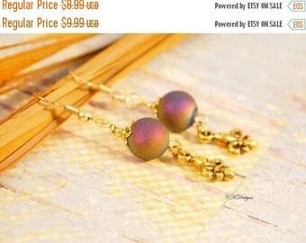 CIJ Rainbow Agate Earrings, Gemstone Earrings, Fleur De Lis Rainbow Agate Pierced or Clip-On Earrings, Gift for Her, Bohemian Earrings