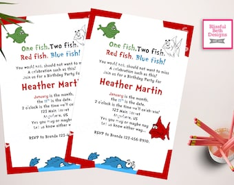 ONE FISH BIRTHDAY Personalized Dr. Seuss Birthday Invitation, One Fish, Two Fish, Birthday Invitation, Dr. Seuss Invitation, Birthday Invite