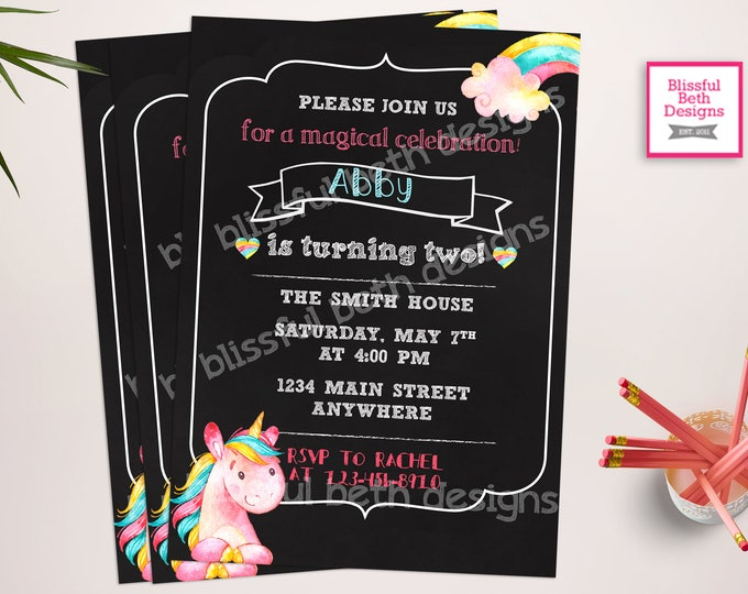 UNICORN BIRTHDAY INVITATION, Printable Unicorn Invitation, Girly Unicorn Invitation, Unicorn Invitation, Magical, Pastel Unicorn