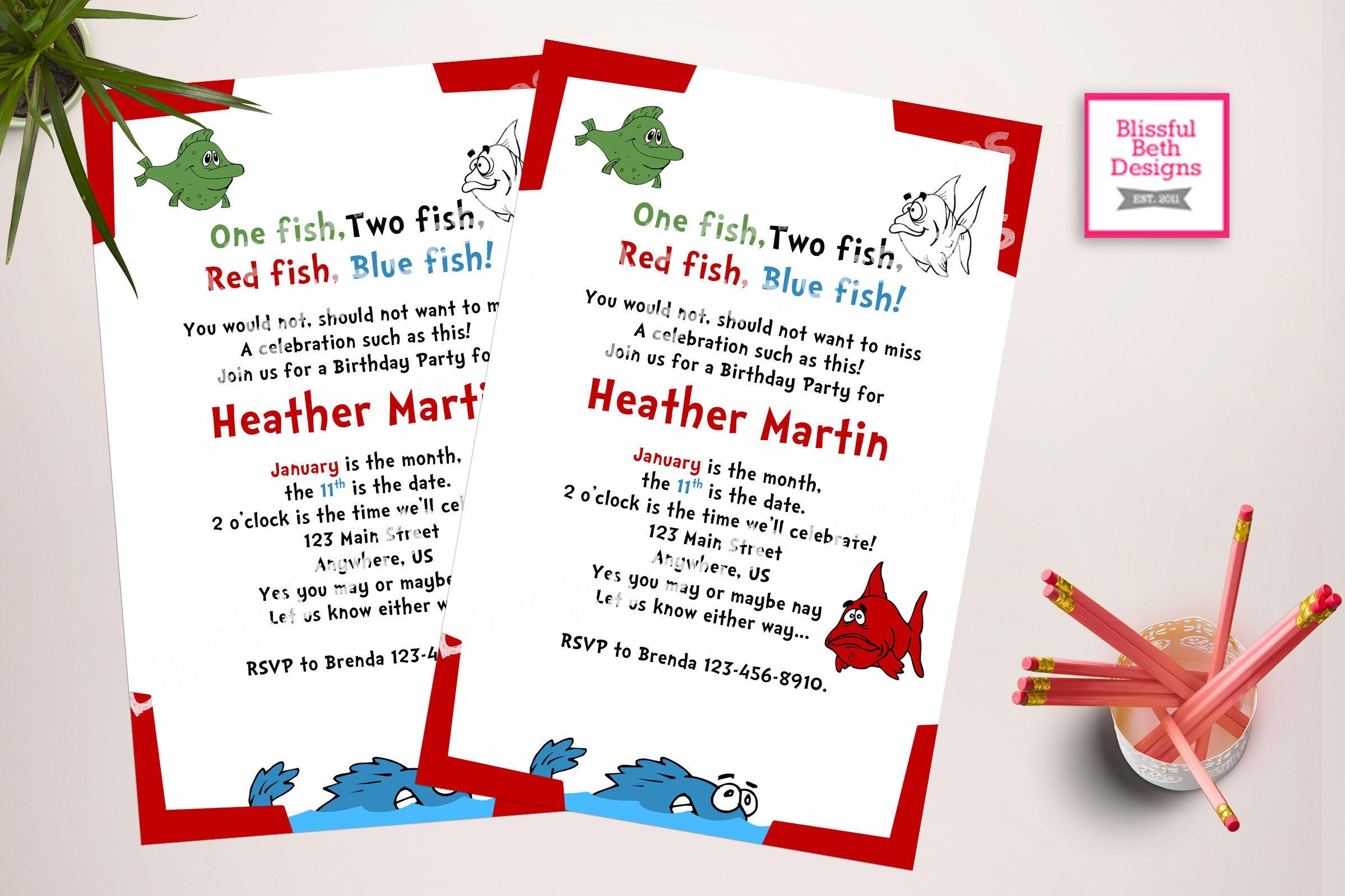 ONE FISH BIRTHDAY Personalized Dr. Seuss Birthday Invitation, One ...