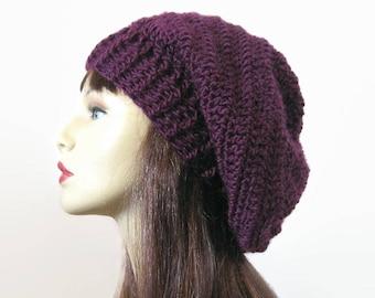 Slouchy hat Slouch Beanie Dark Purple Dreadlocks Hat Slouch Beanie Crochet Purple Hat Knit Slouch Hat SlouchyTam Oversized Beanie Rasta Hat