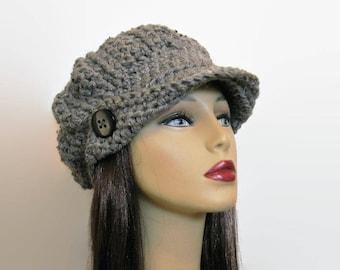 Gray Newsboy Hat gray visor Cap with Visor Lightweight Newsboy Tweed Knit Newsboy Hat Gray Tweed Newsboy Hat with Visor and Button Tweed Cap