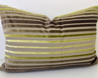 Stripe apple green CHARTREUSE and MOCHA beige LUMBER cushion cover in Zoffany Rossini velvet. Colour way linen & lime rectangle accent cover