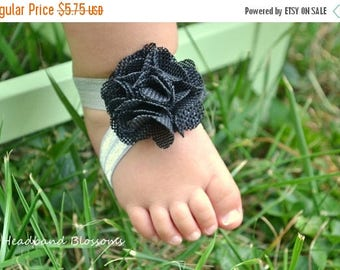 SALE Adorable BLACK BURLAP Barefoot Sandals - Baby Shoes - Frayed Chiffon Flower Sandal - Newborn Baby Photo Prop Halloween Autumn - SilveR