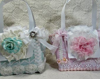 OOAK Shabby Chic Paper Purse - Set of 2 - Girly, Shabby Chic, Pink, Aqua, Flowers, Favors, Gift