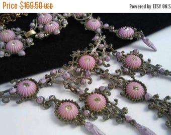 On Sale Antique Jewelry Set - Dainty Soft Pink Lavender Rhinestone Necklace & Bracelet Set - 1920's 1930's Art Deco Jewelry