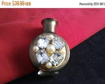 Now On Sale Vintage Rhinestone Perfume Bottle - 1950's Miniature Collectible Vanity Bottle
