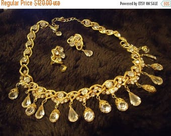 Now On Sale Vintage Rhinestone Necklace Earring Set 1950's 1960's Hollywood Regency Mad Men Open Back Demi Parure Collectible Jewelry