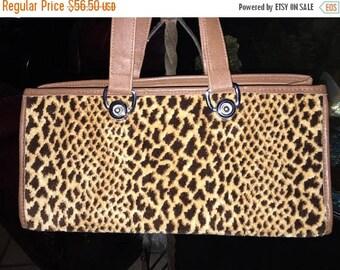 ON SALE Vintage Faux Fur Leopard  Purse Retro Rockabilly Handbag by Spectro Dragon Very Cute!