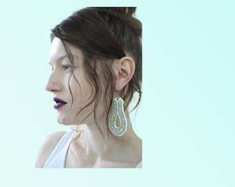 70s Vintage Earrings White Plastic Costume Jewelry Retro Groovy VTG Dangle