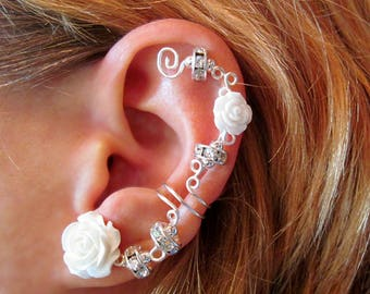 """Cartilage  Ear Cuff  Wedding Prom Bridal No Piercing """"Sparkles and Roses"""" Helix Conch"""