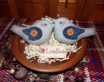 Primitive Whimsical Country Spring Love Birds BLUEBIRDS Tucks Bowl Fillers Ornies (PBB-025)