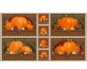 12% off thru July HARVEST GREETINGS Fabric Panel Quilting Treasures-Pumpkins Fall Autumn placemat squares 25820-X