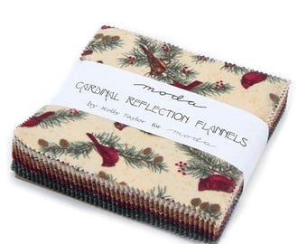 """12% off thru July CARDINAL REFLECTION Flannels - Charm pack-6640PPF-moda  5"""" Cotton Flannel Fabric squares Holly Taylor"""