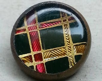 Pretty Antique Plaid Waistcoat Button ~ 1800s Dark Green Red & Gold Design Under Glass DUG Button ~ 3/8 inch 10mm ~ Grammys Buttons