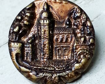 Excellent Antique Stamped & Tinted Brass Picture Button ~ Castle Pictorial with Trees and Waterwheel ~ 11/16 inch 17mm ~ Grammys Buttons