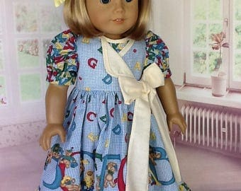 American Girl Doll or 18 inch doll dress and hair clip. Daisy Kingdom Alphabears panel kit with yellow gingham contrast..