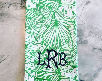 Chinoiserie Palm Banana Leaf Tea Towel Monogrammed
