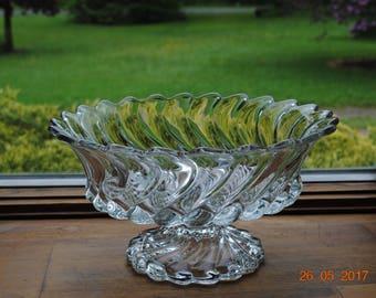 "Fostoria Clear Colony 10 1/2"" Fruit Bowl A Swirl Design"