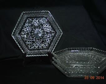 5 -  Anchor Hocking Footed Hexagonal Shaped Dish in Wexford Pattern