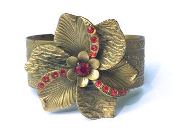 Huge Flower Cuff Brass Bracelet