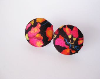 Floral fabric covered button earrings in burgundy, pink, orange and blue
