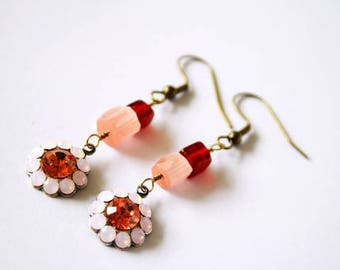 Dangle earrings in peach and dark red/burgundy, vintage glass