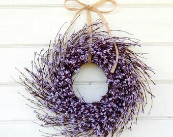 Purple Wreath-MINI TWIG WREATH-Mini Window Wreath-Spring Wreath-Farmhouse Wreath-Country Chic Wall Hanging-Rustic Decor-Centerpiece-Gifts