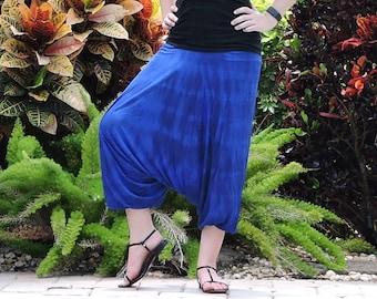 Blue Harem Pants: Tie Dye Cotton Yoga Pants, Aladdin Pants, Navy Harem Pants, Baggy Pants, Maternity Pants, Hammer Pants, Genie Pants