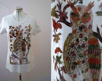 German Beer Label Owl T Shirt  Mens Medium White Only one size available