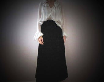 70s Black Velvet Maxi Skirt Small Medium