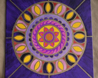 """Mandala Painting to Calm the Mind and Lift the Spirit """"ULTRA VIOLET"""""""