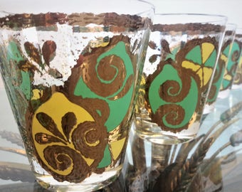 Georges Briard Glasses Lemons and Limes 22K Gold Double Old Fashioned Set of 6 1960's Gorgeous Condition Barware Gift