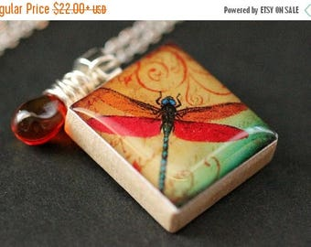 BACK to SCHOOL SALE Amber Dragonfly Necklace. Insect Necklace. Scrabble Tile Necklace with Fiery Glass Teardrop. Handmade Jewelry.