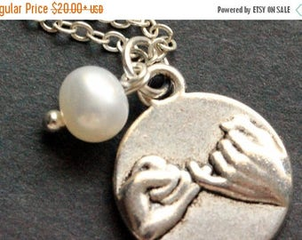 BACK to SCHOOL SALE Pinky Swear Necklace. Fresh Water Pearl Charm Necklace. Friendship Necklace. Handmade Jewelry.
