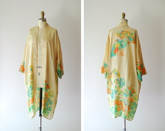 vintage 1920s pongee tissue silk robe / 20s floral and fan print art deco kimono